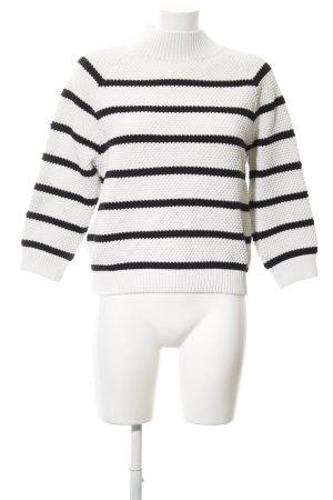 someday Strickpullover weiß-schwarz Streifenmuster Casual-Look