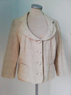 Sommer Blazer beige Baumwolle Gr. UK 14 42 M L Spitze 3/4 Arm
