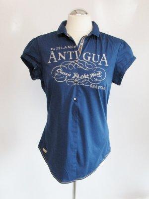 Sommer Bluse Gaastra Größe L 40 Royal Blau Stretch Stickerei Kurzarm Tailliert Luxus Hemd