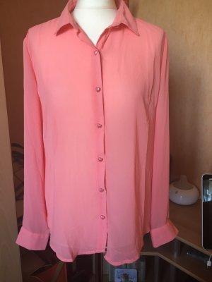 Transparante blouse zalm