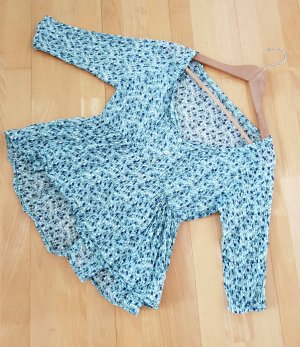 Sommer Bluse Grün Blau Blüten Print