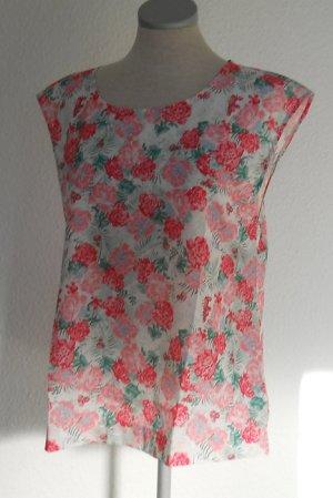 Sommer Bluse Oberteil Top Gr. 38 S M weiß rosa Rosen Blumen neu