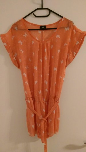 Sommer Bluse orange Schmetterlinge Gr. S