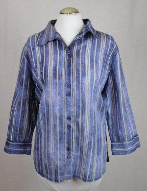 Sommer Bluse Streifen Gina Laura Größe L 40 Blau Gelb Rose Transparent Paisley Schrift Lettering Viskose