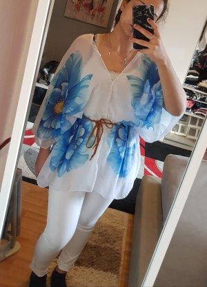 Oversized blouse wit-blauw