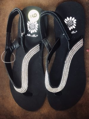 Toe-Post sandals black-silver-colored