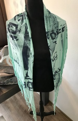 Diesel Sjaal met franjes donkerblauw-turkoois