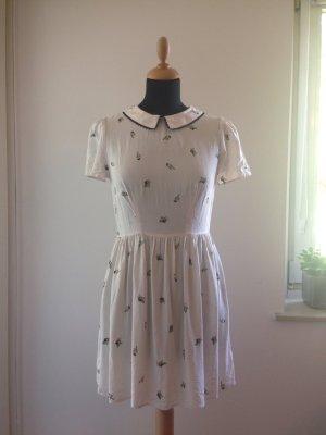 Sommer Frühling Kleid Muster creme offwhite Bubikragen Spitze Bordüre Viskose Papagei Animalprint Lolita College