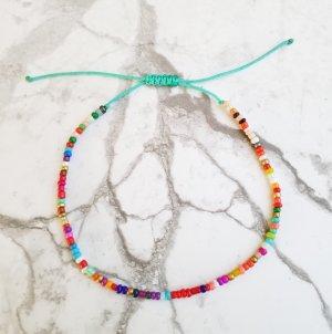 SOMMER! Fußkettchen/ Fußkette mit türkisfarbenem Band und kunterbunten Perlen
