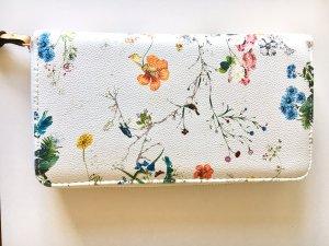 Sommer-Geldbeutel mit Blumen- und Vogelmotiven in Offwhite