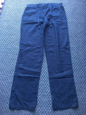 Blue Motion Linen Pants dark blue