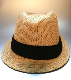 Chapeau panama brun sable-noir fibre synthétique