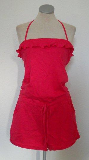 Sommer Jumpsuit pink gerüscht Neckholder Jersey Gr. M 40 42 kurz overall