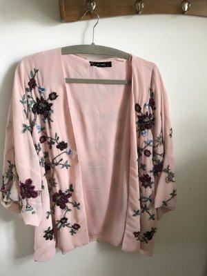 Hallhuber Chaqueta tipo blusa rosa claro