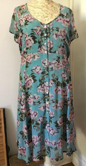 Sommer-Kleid *IN TWO PLUS* Rosen, luftiger Stoff blau-türkis Gr. XL1 (44/46) NEU