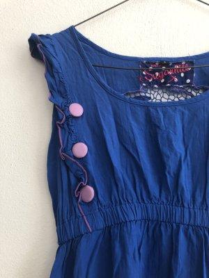 Sommer Kleid Muster Blau Grosse Schöne Details