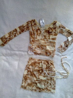 Traje para mujer marrón arena-beige