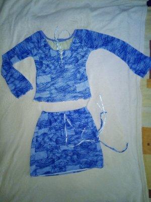 Cowl-Neck Top white-blue