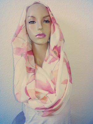 sommer loop xxl weiß mit Apriko/rosa Blüten