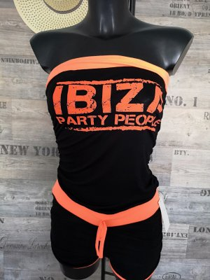 Traje de pantalón negro-naranja neón
