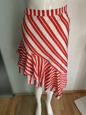 Zara Falda asimétrica blanco-rojo Algodón