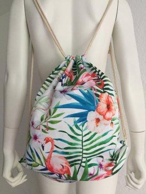 Sommer Rucksack Palmen Flamingo Blumen Weiss New
