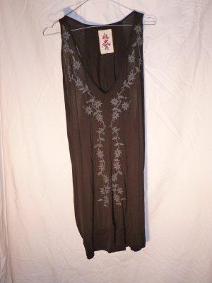 Sommer-Sale! Longtop von Replay, schwarz mit grauen Stickereien, aus Baumwolle