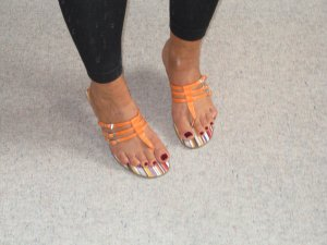 T-Strap Sandals orange imitation leather