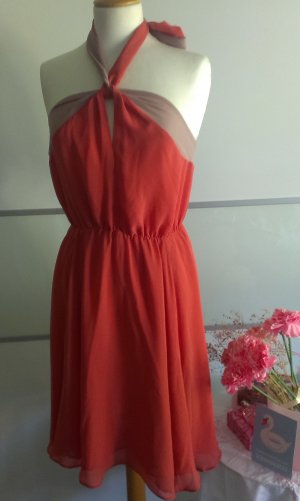H&M Halter Dress bright red-dusky pink