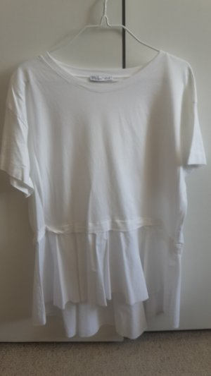 SOMMER SALE - ZARA White T-Shirt mit Volant Weiß