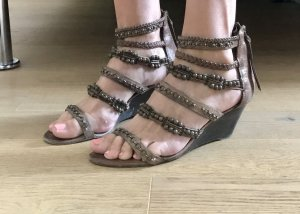ASH Wedge Sandals grey brown-bronze-colored