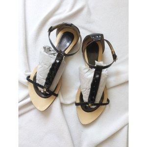 Sommer Sandalen mit Riemchen Zehentrenner geflochten Schwarz 39 kleine Absatz
