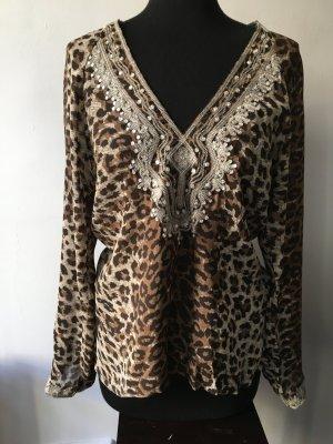 Sommer Sexy und Chic Leopard tunika Bluse mit Pailletten