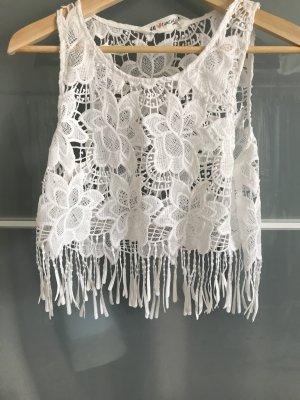 H&M Top en maille crochet blanc