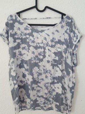 Only Camisa acanalada gris pizarra-blanco puro