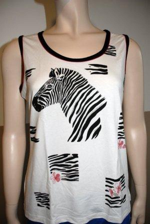 Sommer-Shirt mit Zebra/Kirschblütendruck und Glitzer
