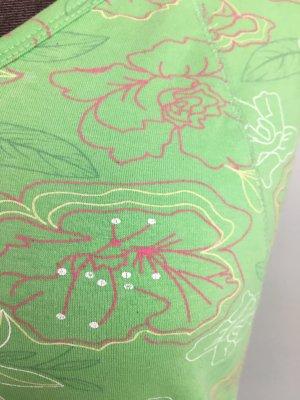 Sommer Shirt Top T-Shirt von TCM Gr 40 42 M grün geblümt