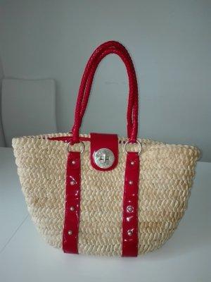 Sommer-Strand-Tasche/geflechtet.In Natur Farbe mit rotem lack-Träger .