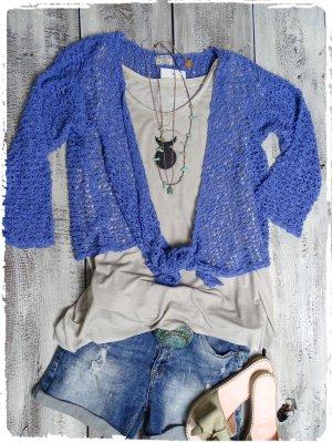 Chaqueta cruzada azul aciano tejido mezclado