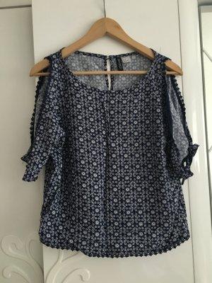 H&M Camisa de un solo hombro blanco-azul oscuro