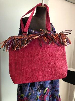 Sommer Tasche Strand Shopper Urlaub pink mit Fransen