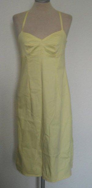 Sommer Träger Kleid gelb Gr. UK 10 36 S gelb knielang Baumwolle rockabilly