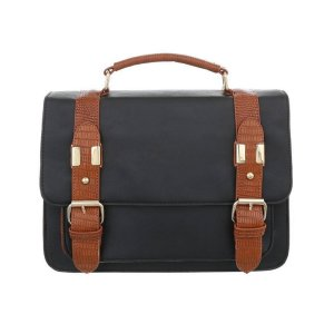 Laptop bag black-bronze-colored synthetic