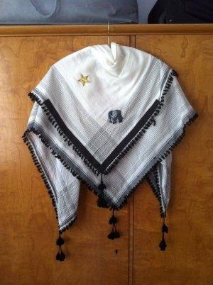 Shemagh white-black cotton