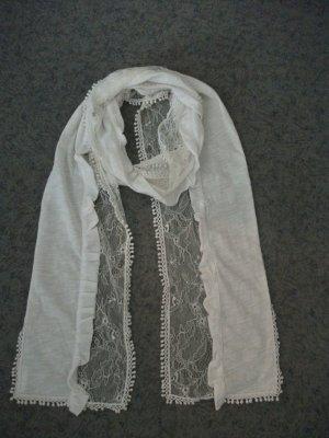 Sommer Tuch / Schal, 170x18cm, Baumwolle-Spitze-Bommeln, weiß