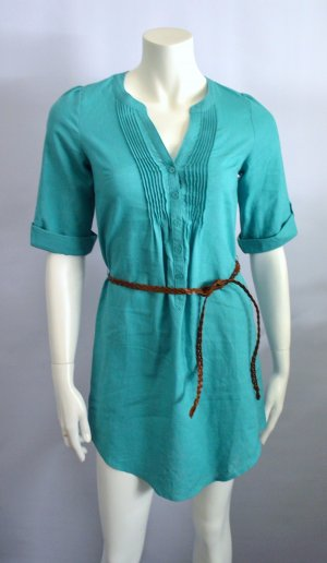 Sommer Tunka Leinen Cotton Ocean Türkis + Belt Brown New