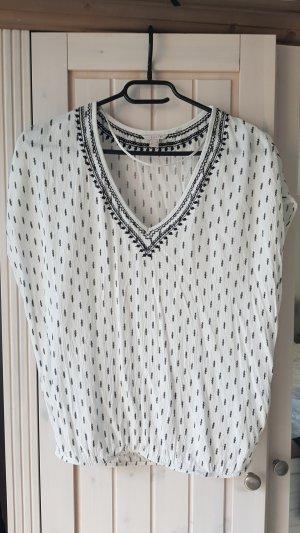 Esprit Mouwloze blouse wit-zwart