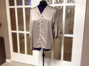 100% Fashion Glanzende blouse licht beige Katoen
