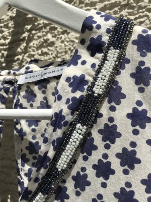 Magic Woman Short Sleeved Blouse natural white-dark blue cotton