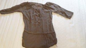 Zijden blouse grijs-bruin